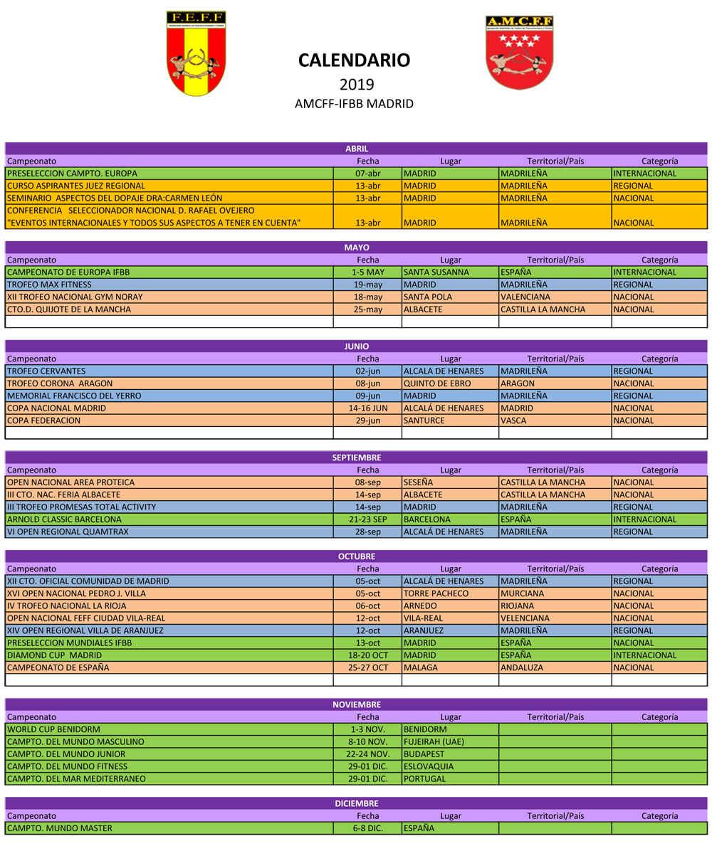 Calendario Del Madrid.Calendario Ifbb Madrid